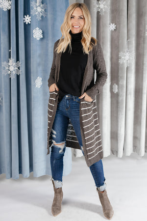 Stripes And Charcoal Cardigan