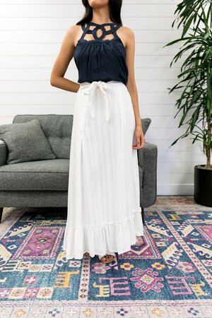 White Ruffled Maxi Skirt