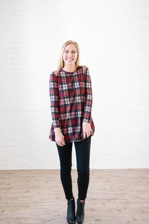Amber Plaid Tunic in Burgundy