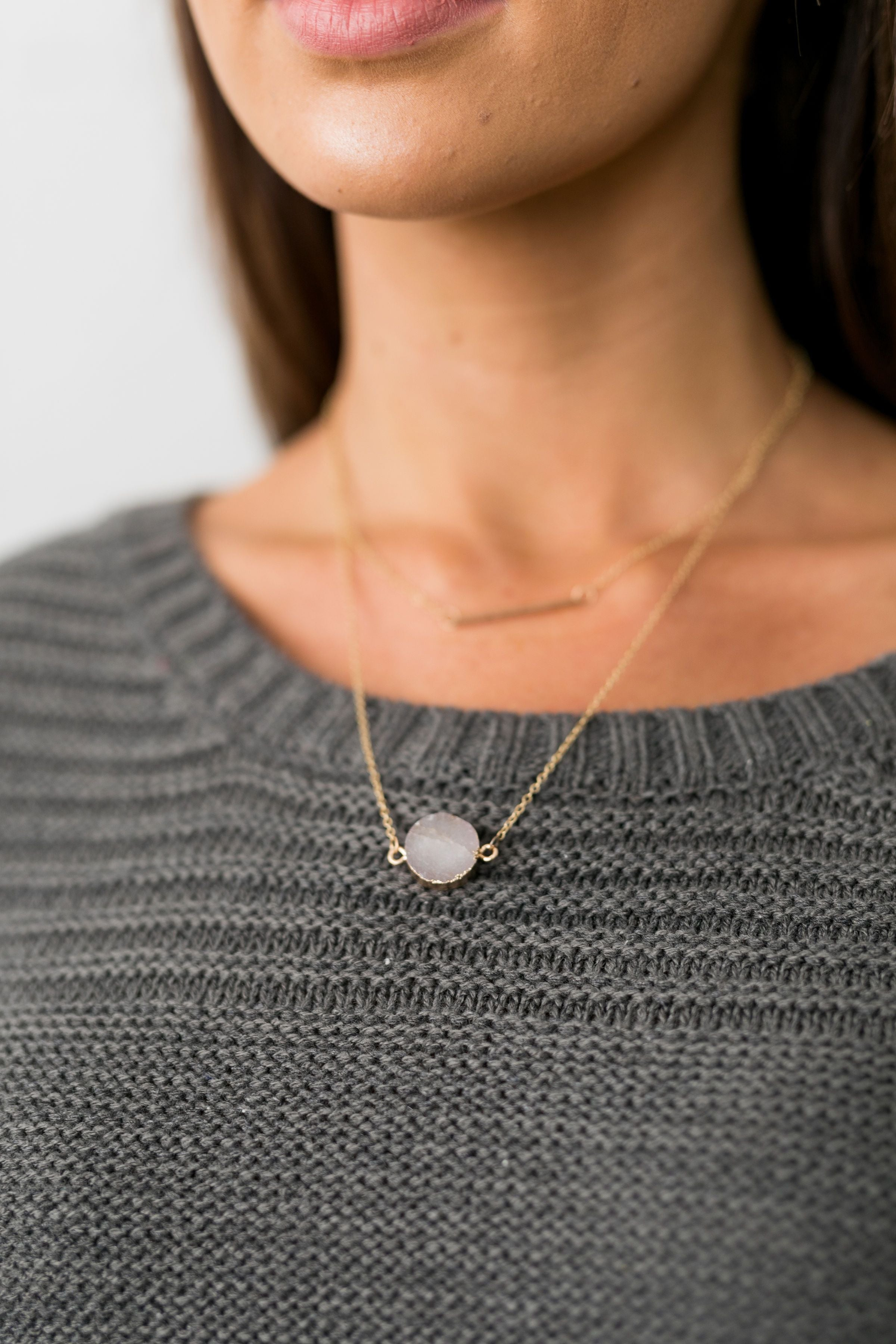 Bar None Layered Druzy Necklace