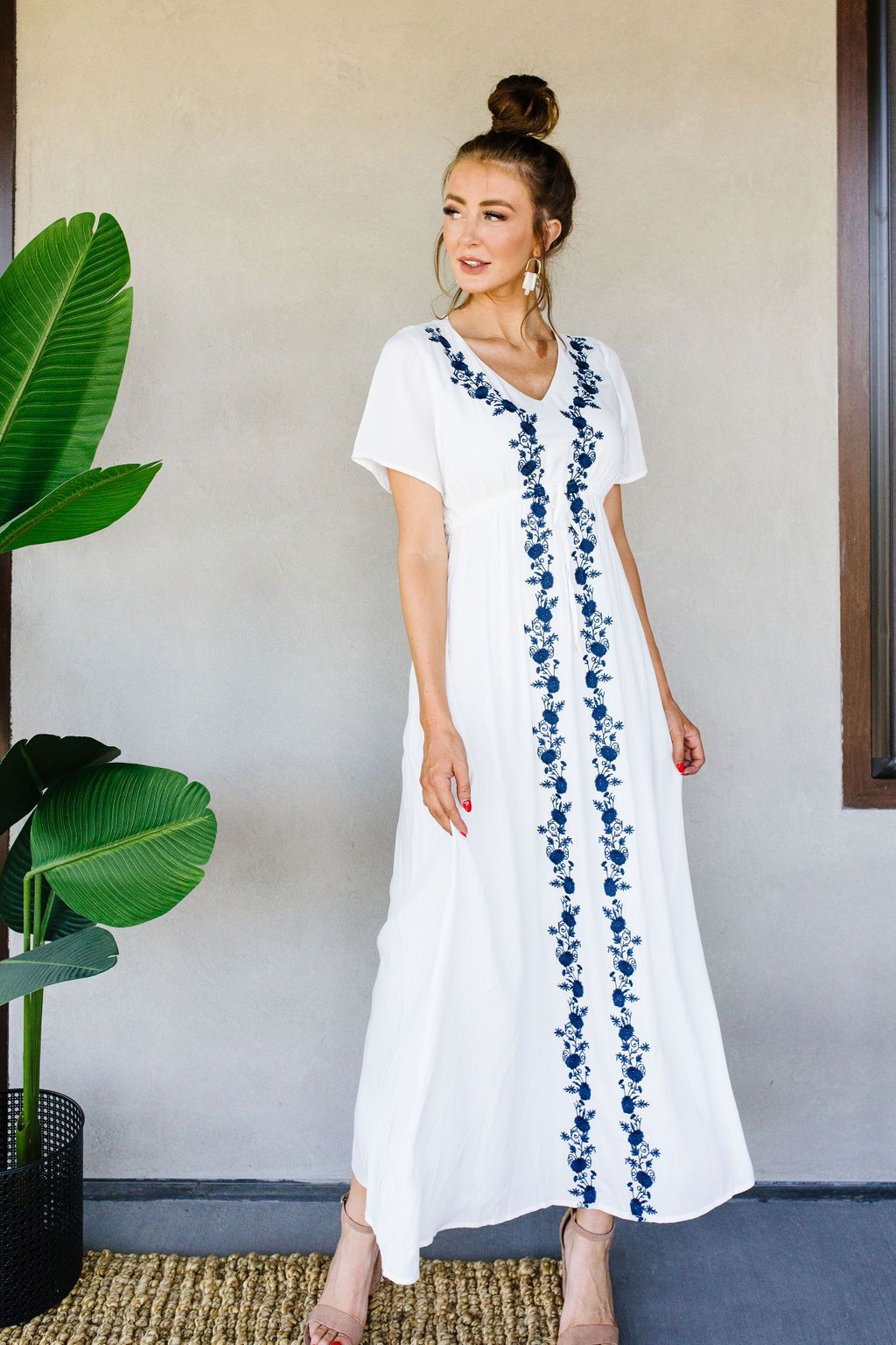 Blue Roses Embroidered Dress
