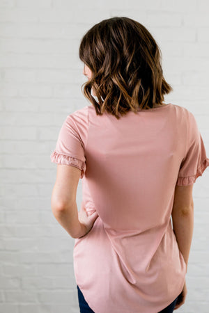 Riley Ruffled Sleeve Top In Blush