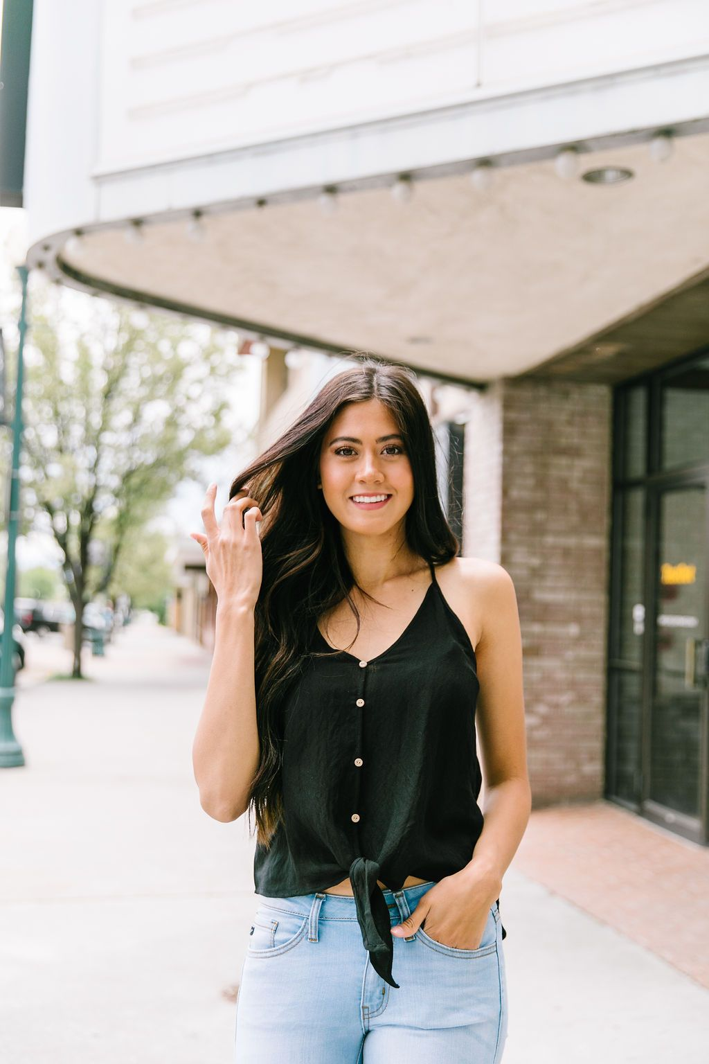 Button Down Camisole In Black