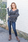 Chic Chenille Ruffled Tie Front Top - ALL SALES FINAL