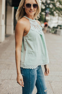 Chrissy Crochet Halter In Mint