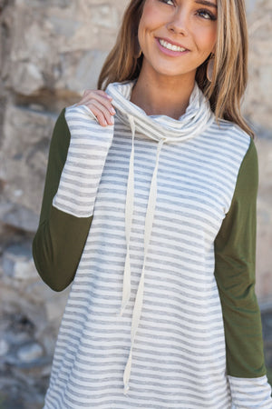 Comfort Zone Cowl Neck Top In Olive