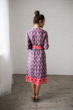 Contrast Print Wrap Dress - ALL SALES FINAL