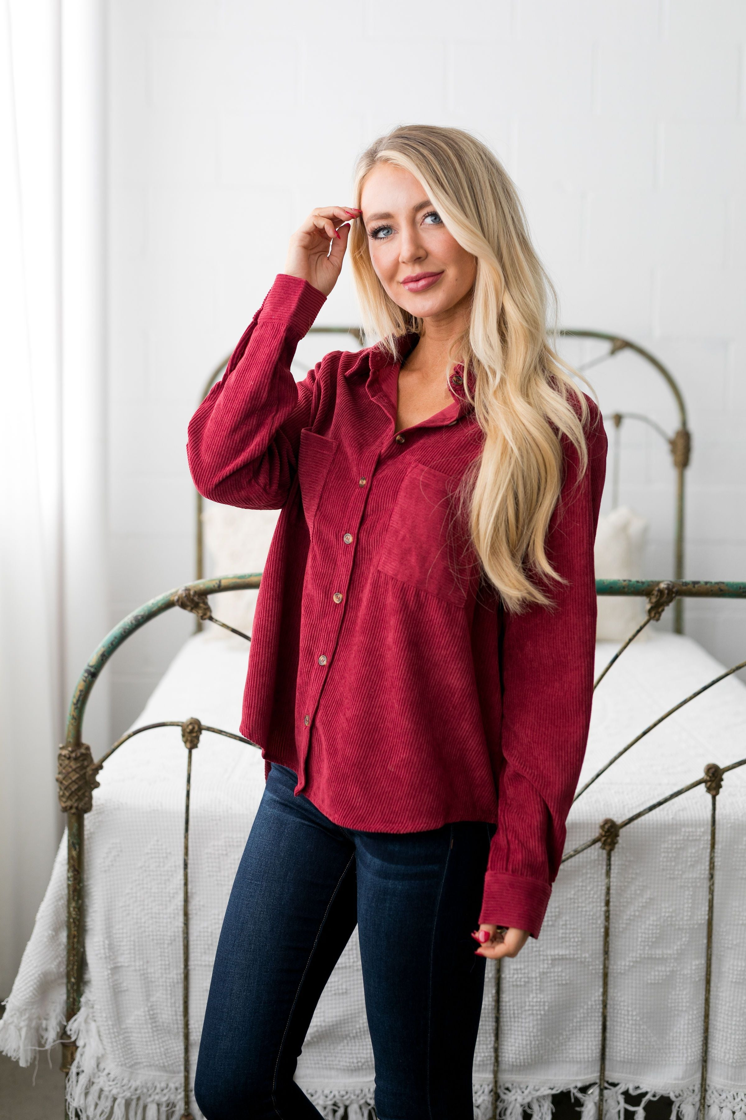 Corduroy Buttondown In Red - ALL SALES FINAL