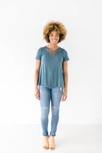 Criss Cross Tee In Teal Blue