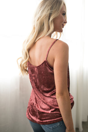 Cross My 🖤 Crushed Velvet Cami In Mauve - ALL SALES FINAL