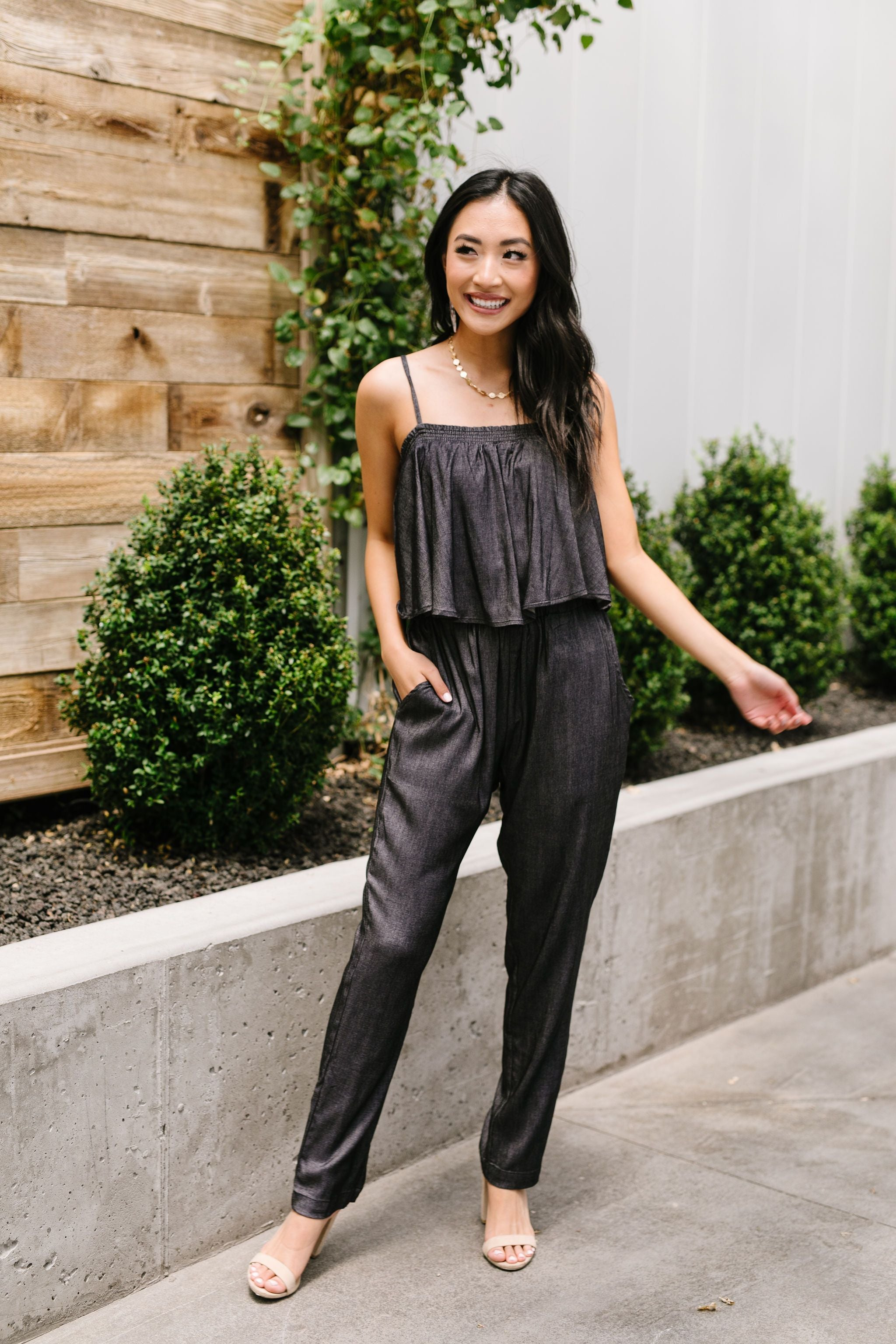 Crosshatch Jumpsuit in Black