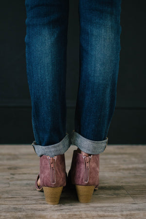 Distressed Side Cutout Booties in Rose Taupe