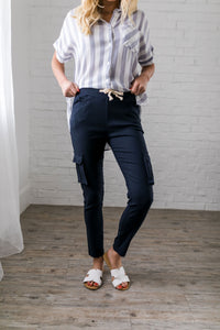 Drawstring Cargo Pants In Navy