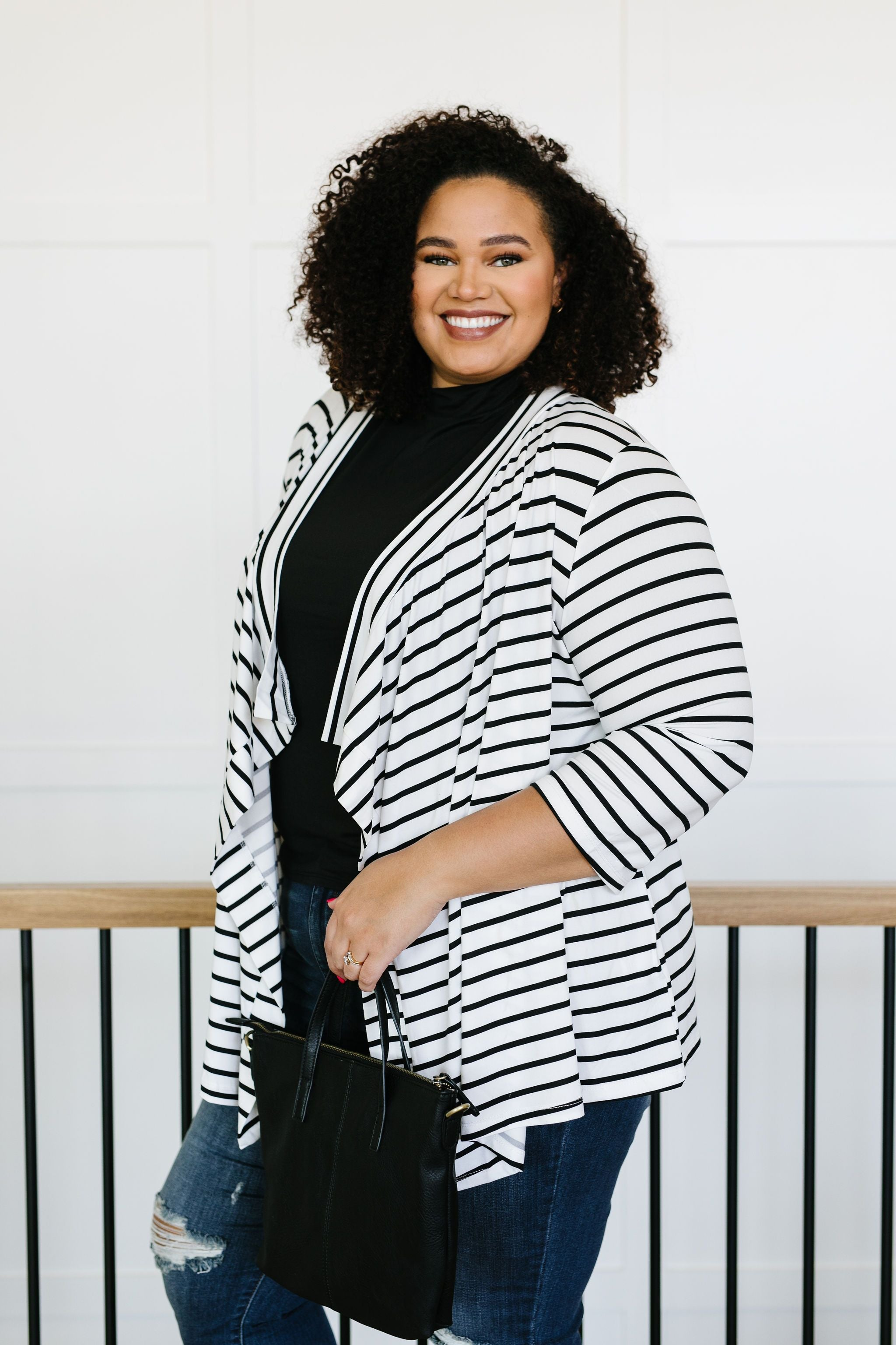 Escape To Nowhere Cardigan In White w/ Black Stripes