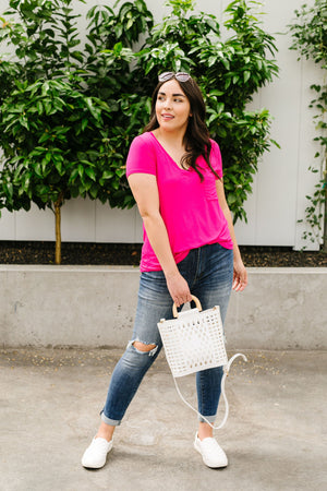 Everyday Yay V-Neck Tee In Fuchsia