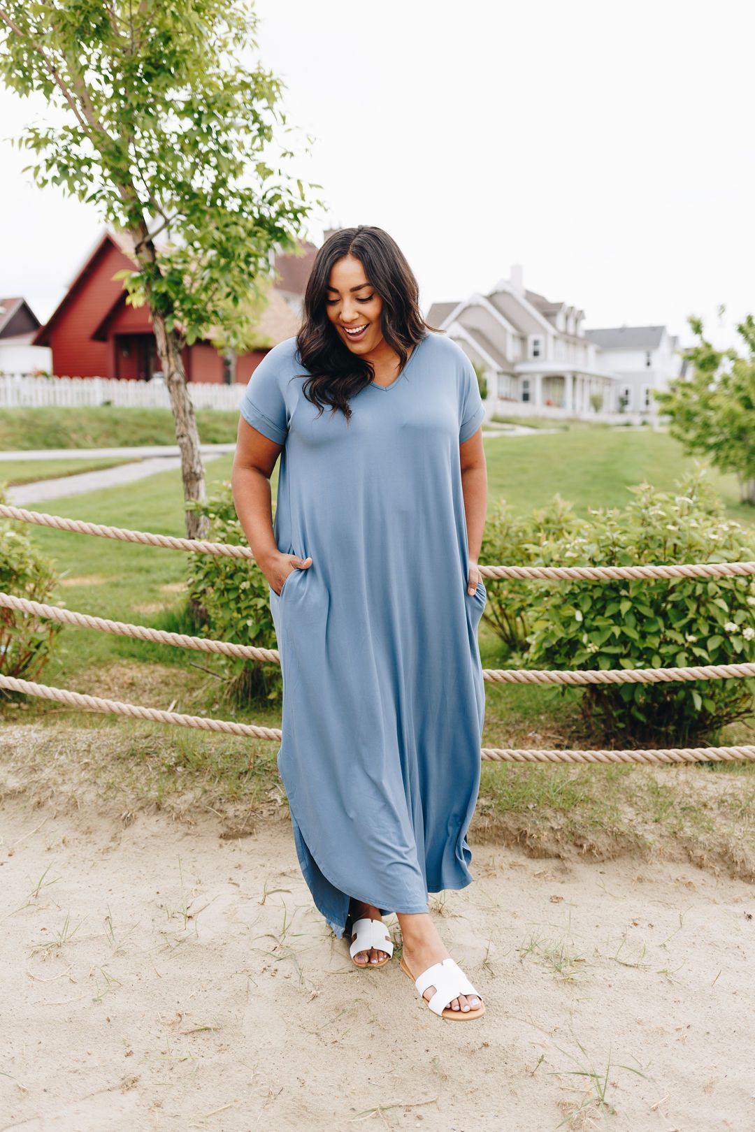 Free And Easy Maxi Dress In Dusty Blue