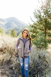 Heather Herringbone Padded Vest - ALL SALES FINAL