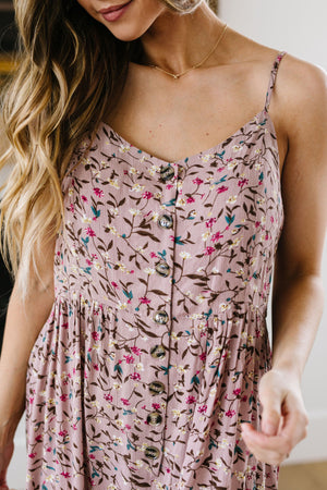 Julia Floral Jumper In Dusty Rose