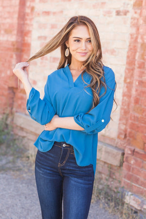 Madeline Mandarin Collared Top In Teal Blue