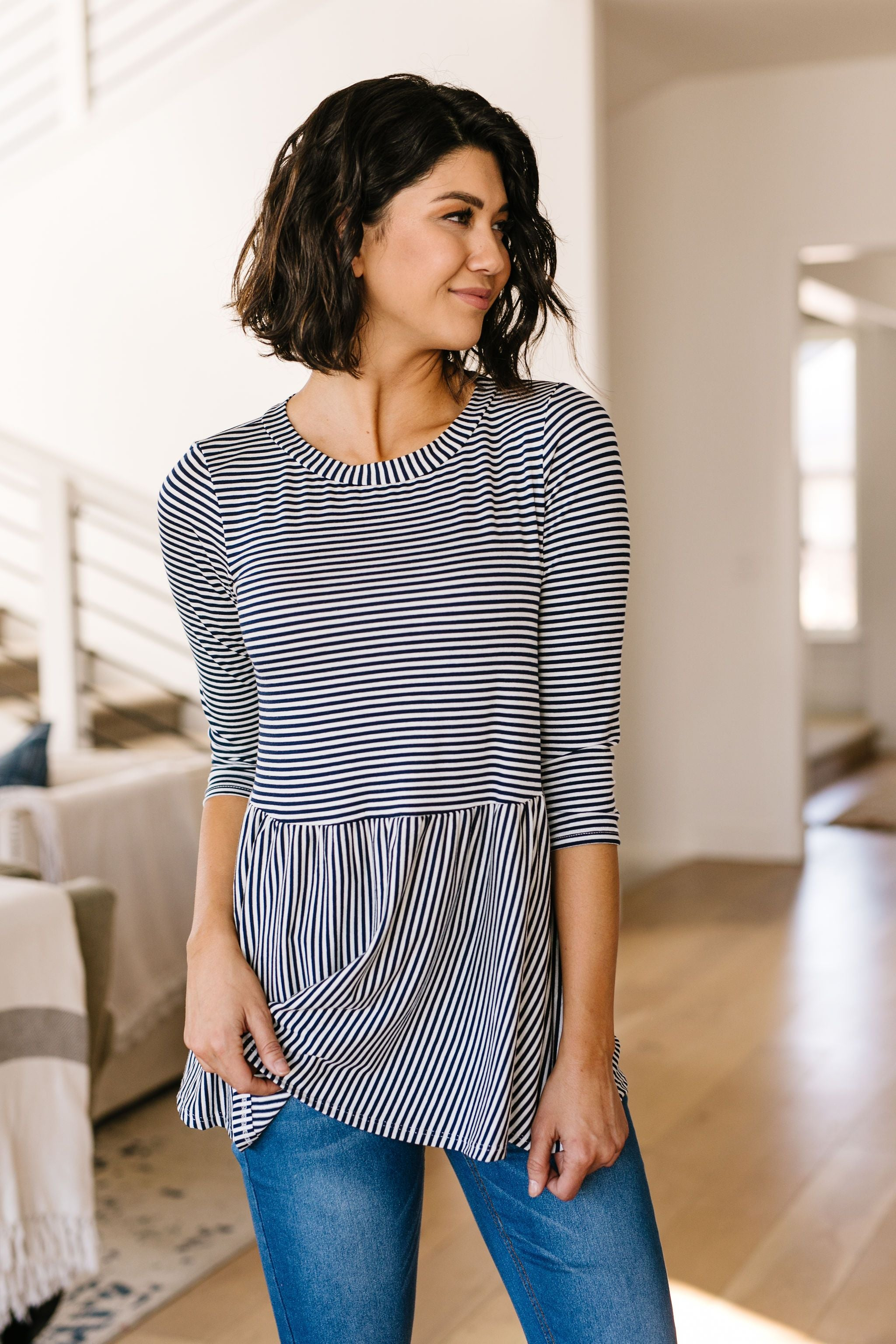 Mini Striped Babydoll Top In Navy