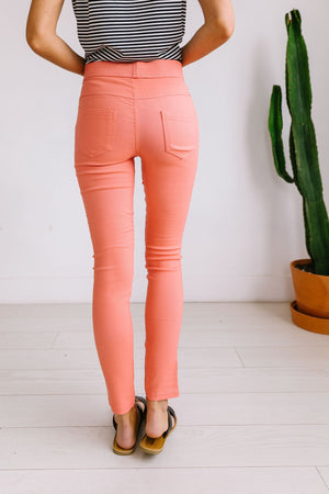 Moto Jeggings In Coral
