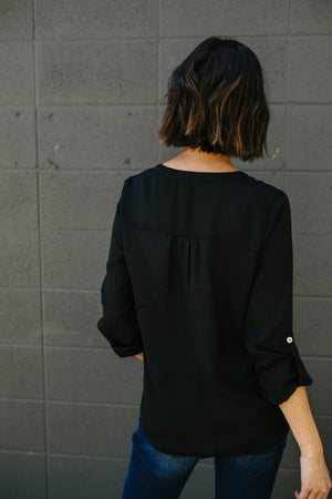 Notched Collar Wrap Blouse