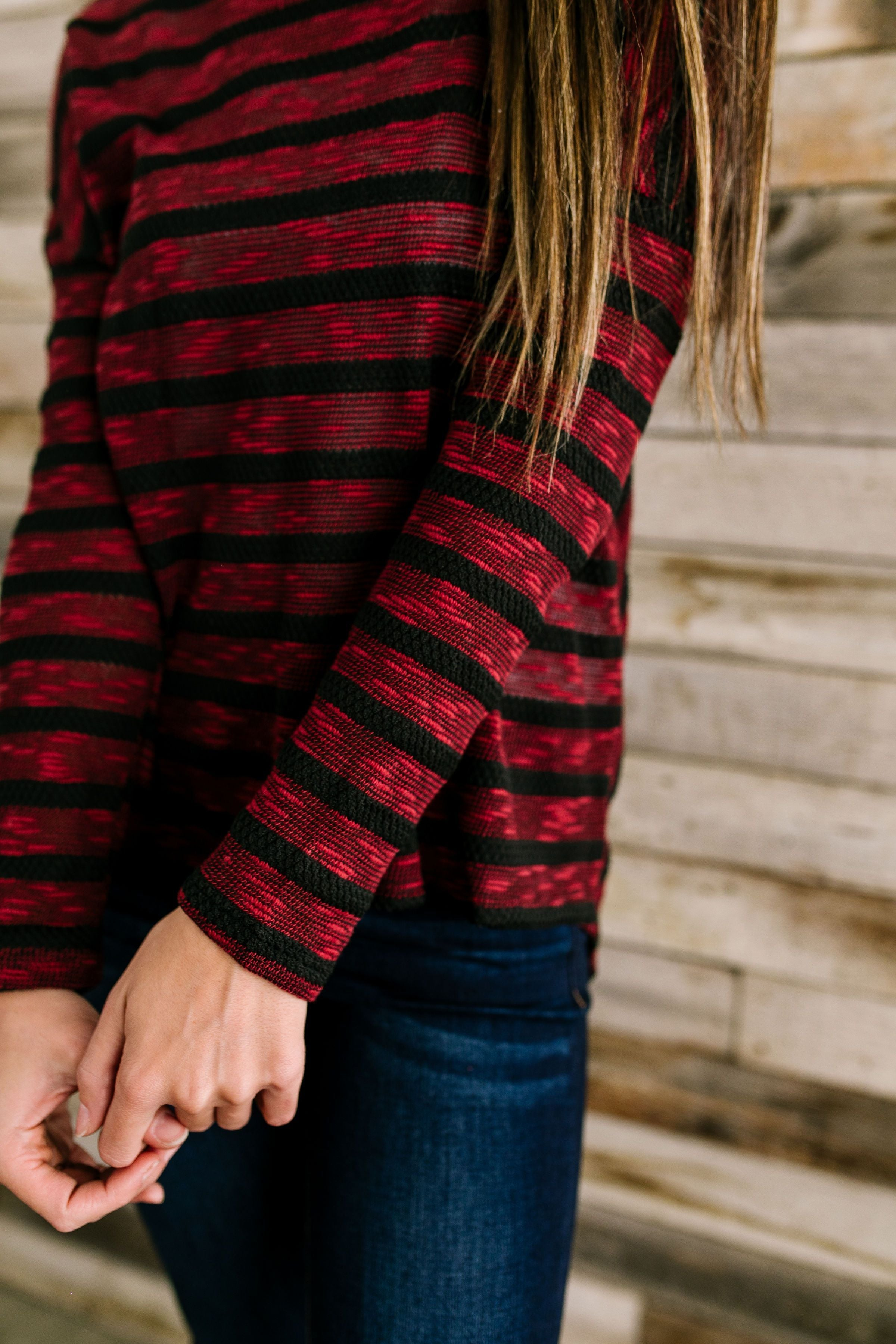 On The Level Striped Top In Burgundy + Black - ALL SALES FINAL