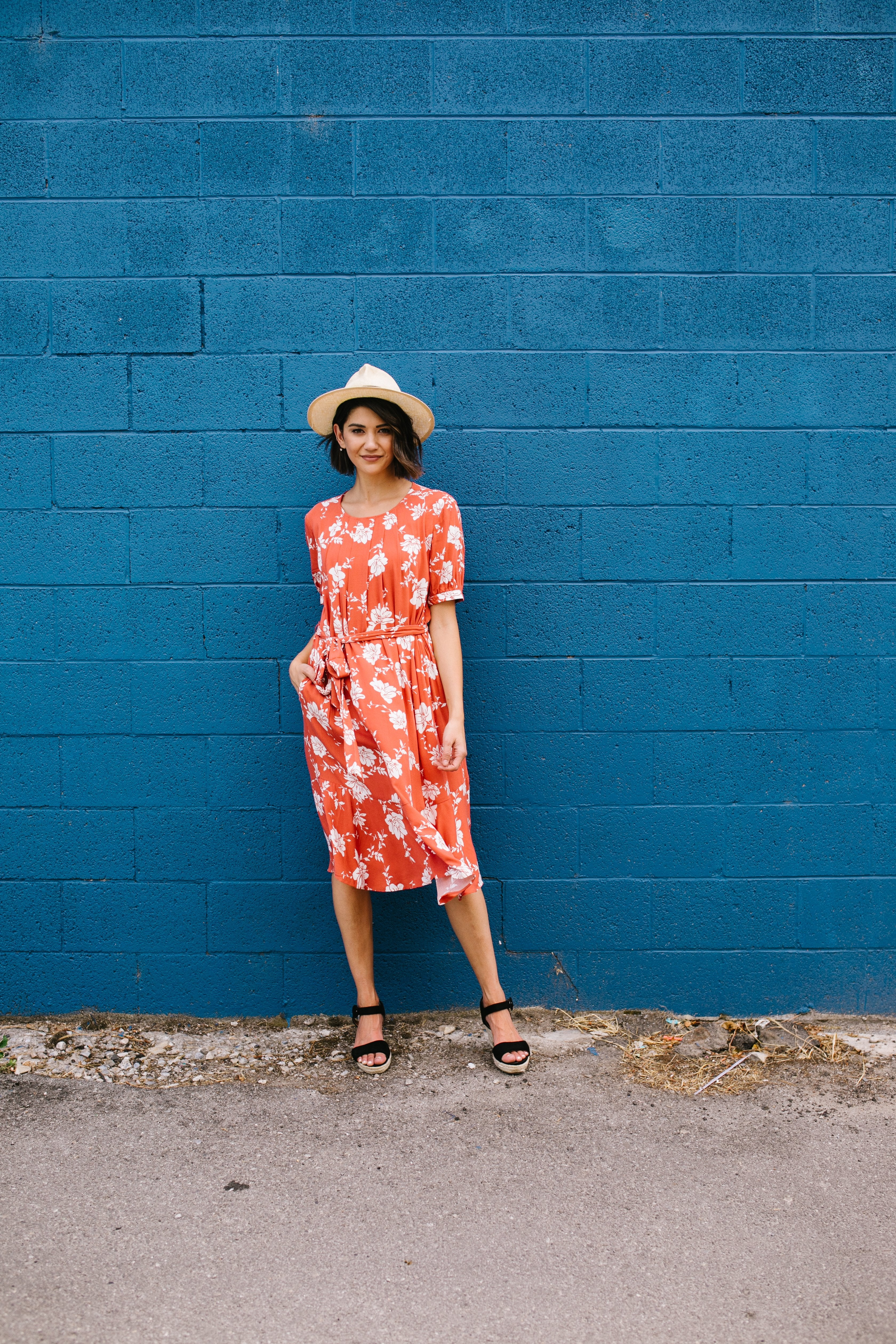 Passion Flower Persimmon Dress