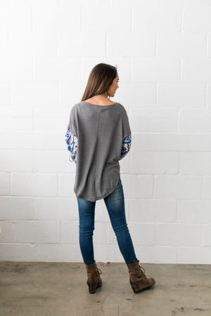 Patchwork Of Promises Top In Gray - ALL SALES FINAL