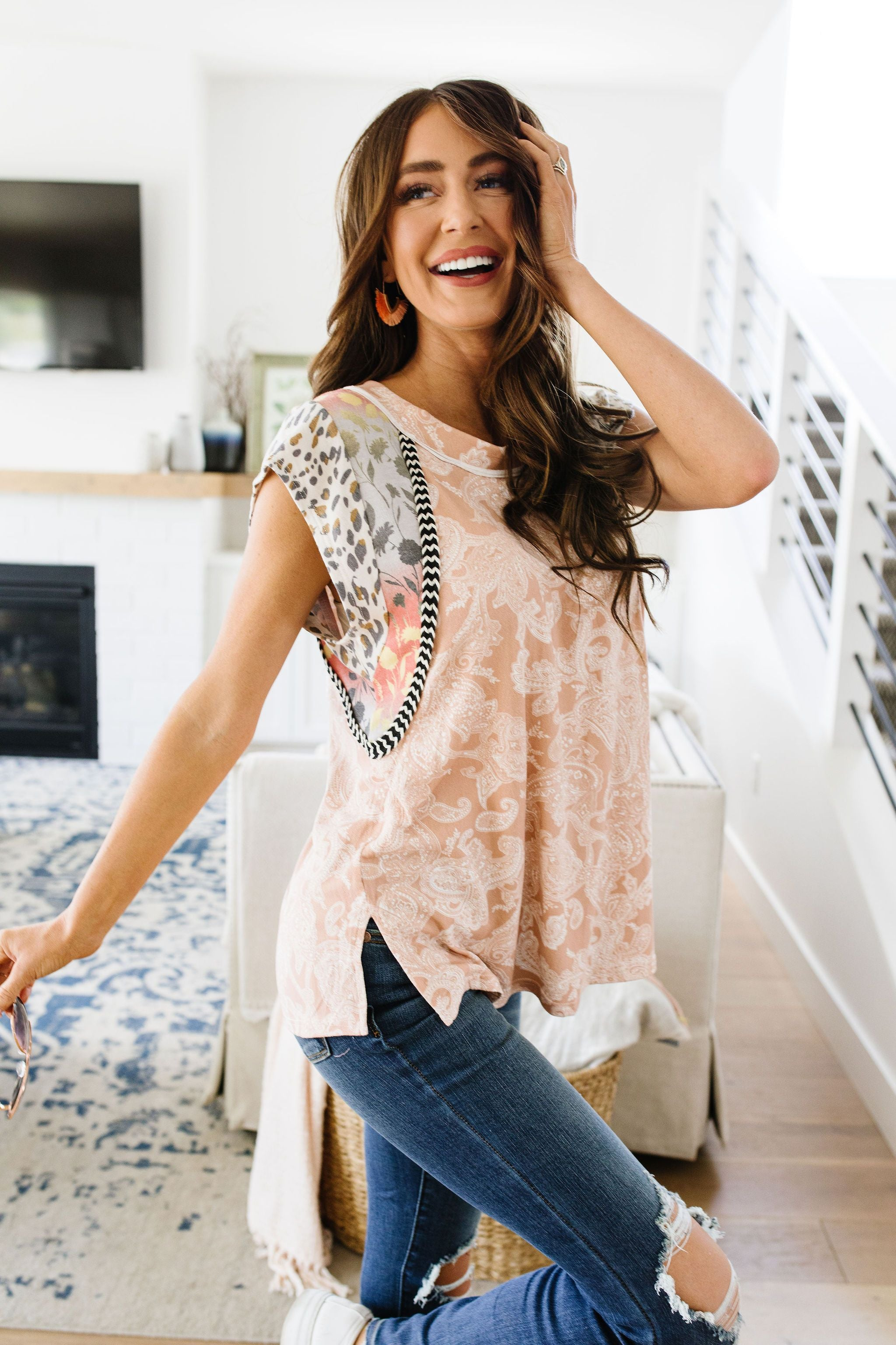 Peach Tapestry Top