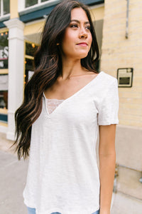 Peekaboo Lace Tee In White