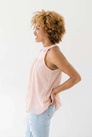 Pleated Halter In Blush