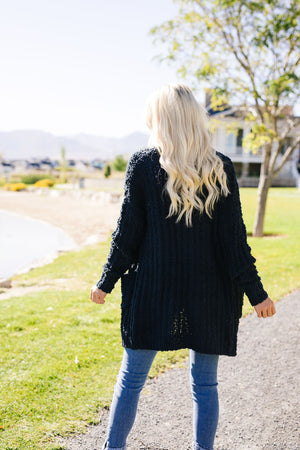Pocketed Popcorn Cardigan In Navy