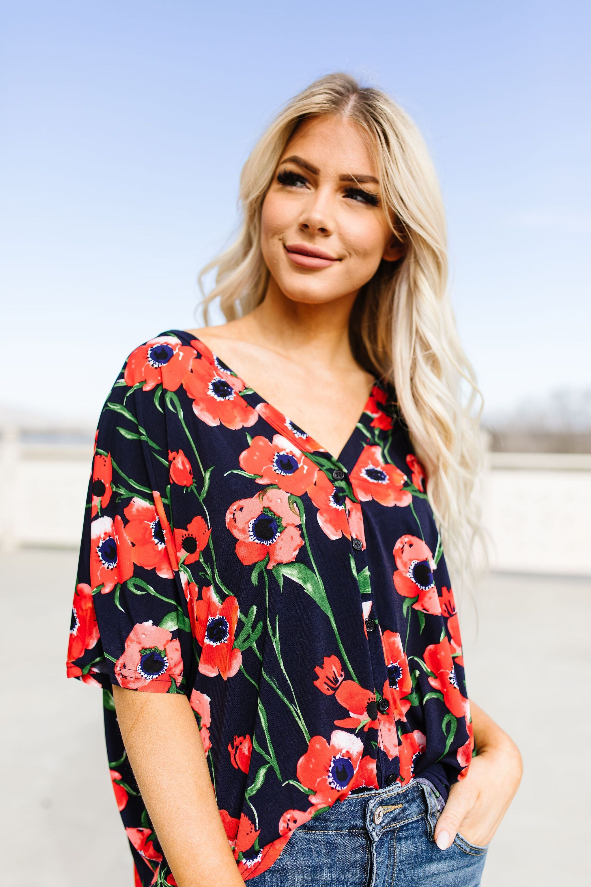 Poppies At Midnight Blouse