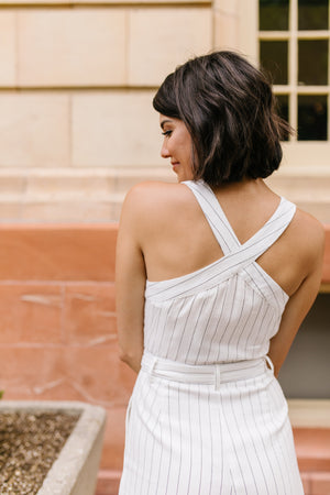 Preppy Pinstriped Jumpsuit
