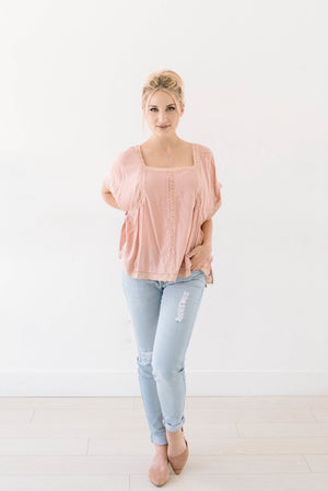 Pretty in Pink Peasant Top