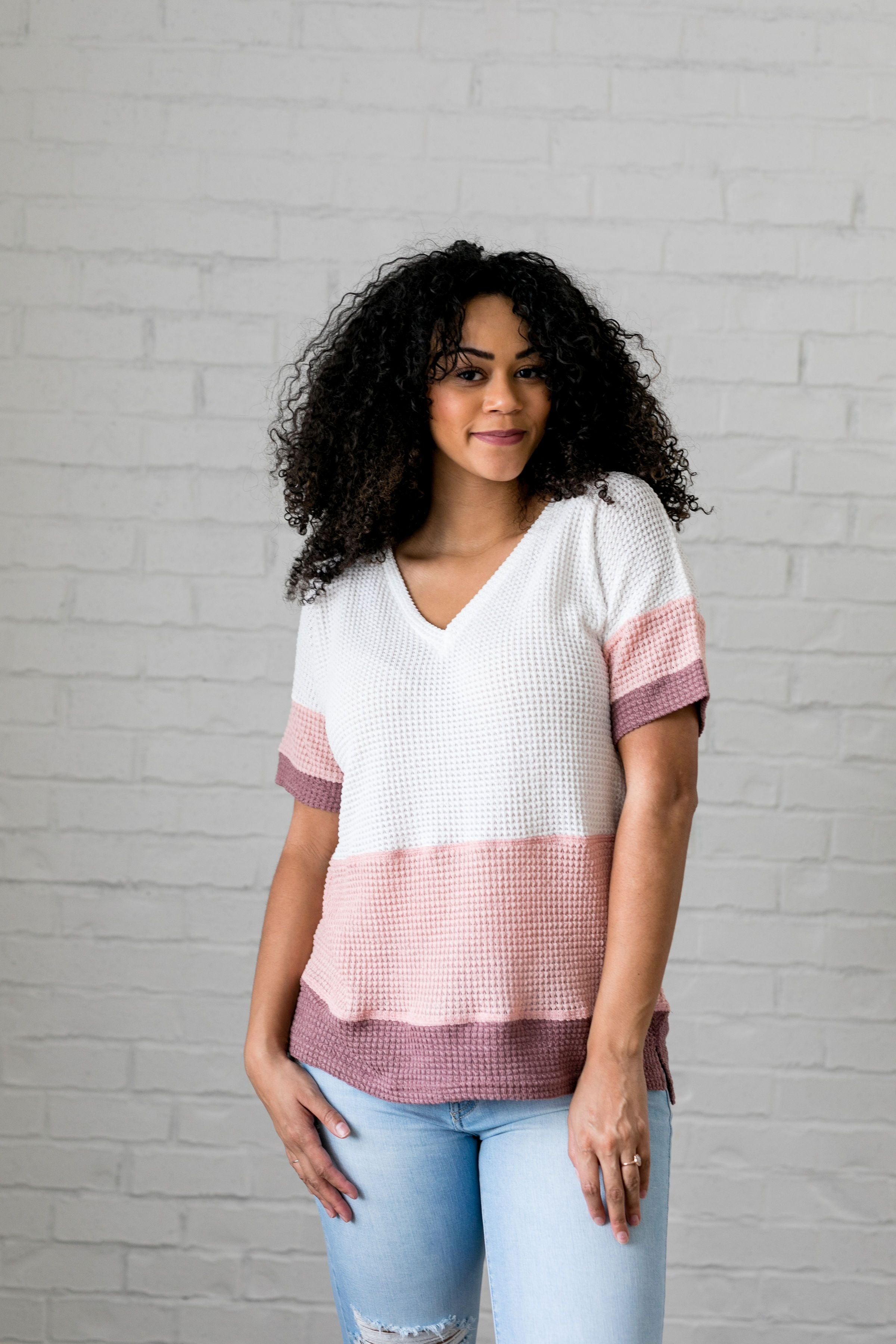 Raise The Bar Waffle Knit V-Neck - ALL SALES FINAL