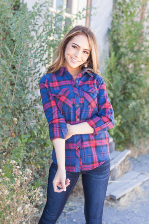 Robin Hood Flannel Button-Down In Navy