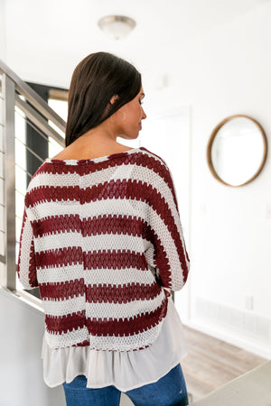 Ruffle Hem Burgundy Striped Top - ALL SALES FINAL