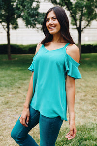 Ruffled Cold Shoulder Blouse In Jade