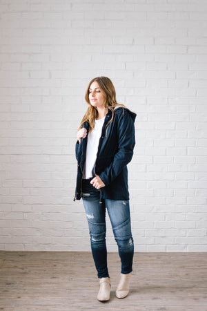 Scouting It Out Fur Lined Jacket in Navy