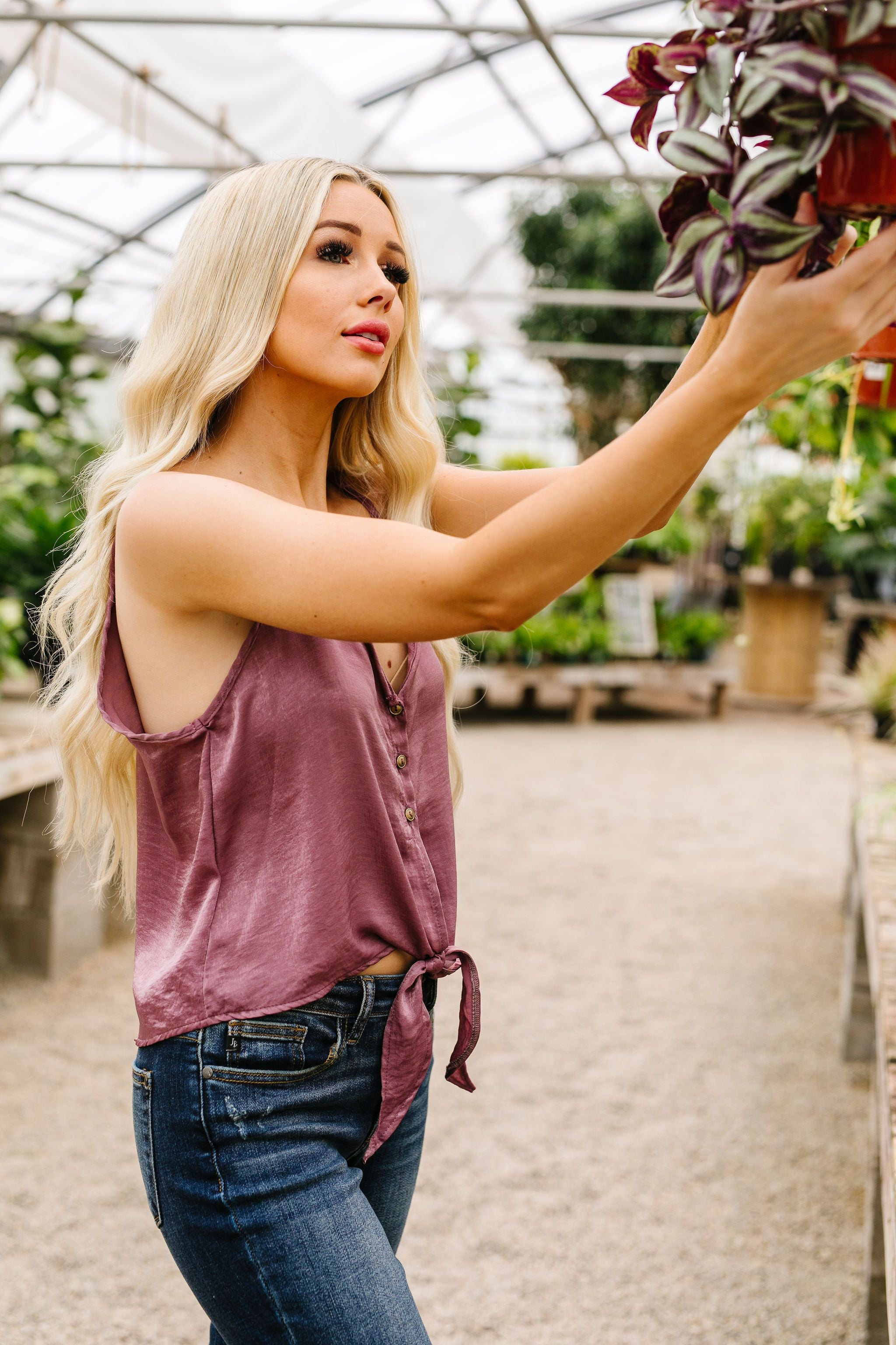Silky Button-Down Tank In Lilac