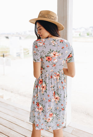 Striped Flower Garden Dress