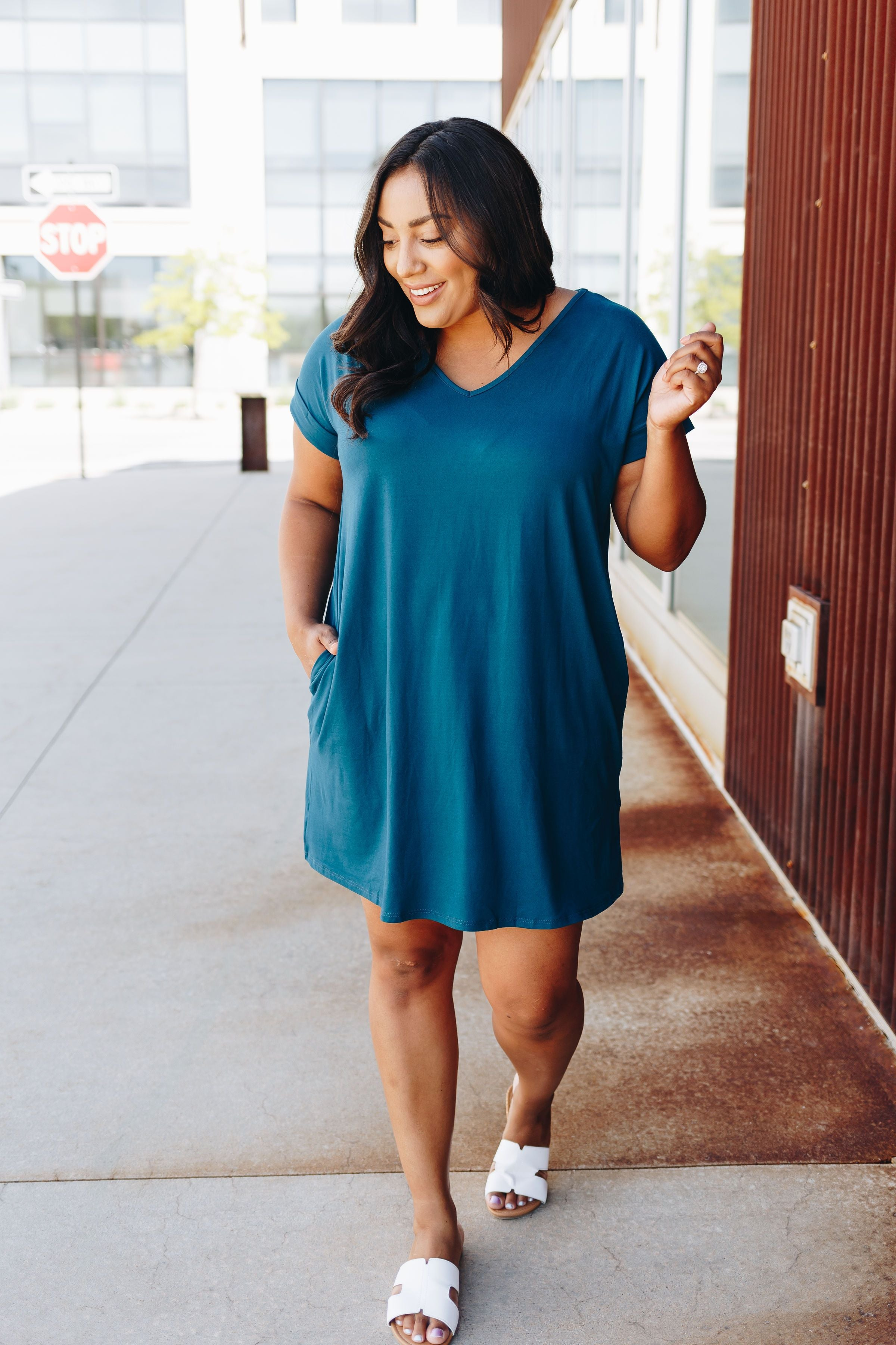 Summer Comfort Dress In Teal