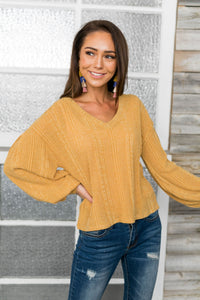 Sweet Sadie V-Neck Sweater In Wheat - ALL SALES FINAL
