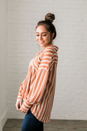 Terra-Cotta Striped Sateen Blouse - ALL SALES FINAL