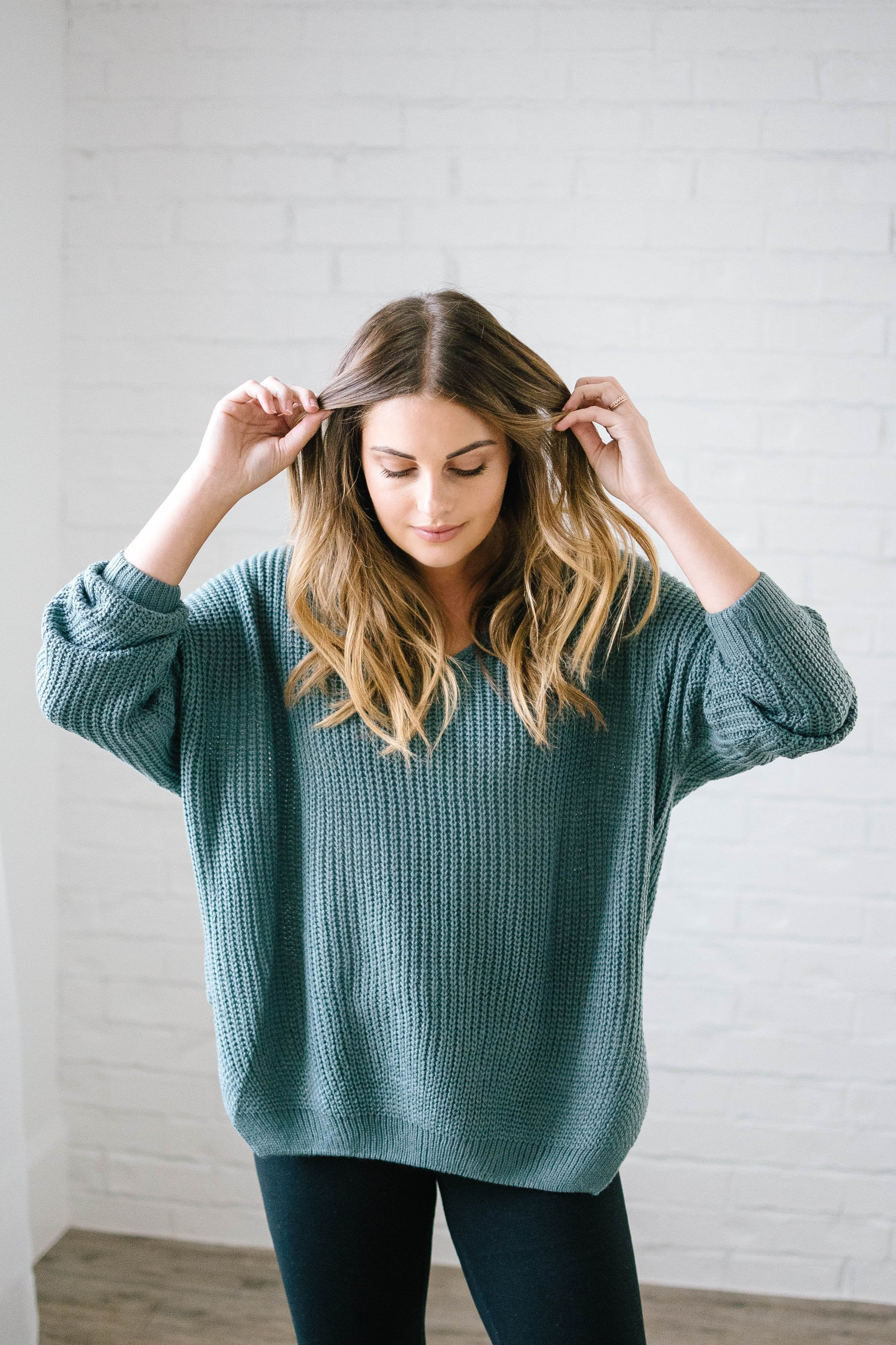 The Hayden Knit Sweater in Seafoam