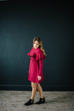 The Liz Knit Dress in Burgundy