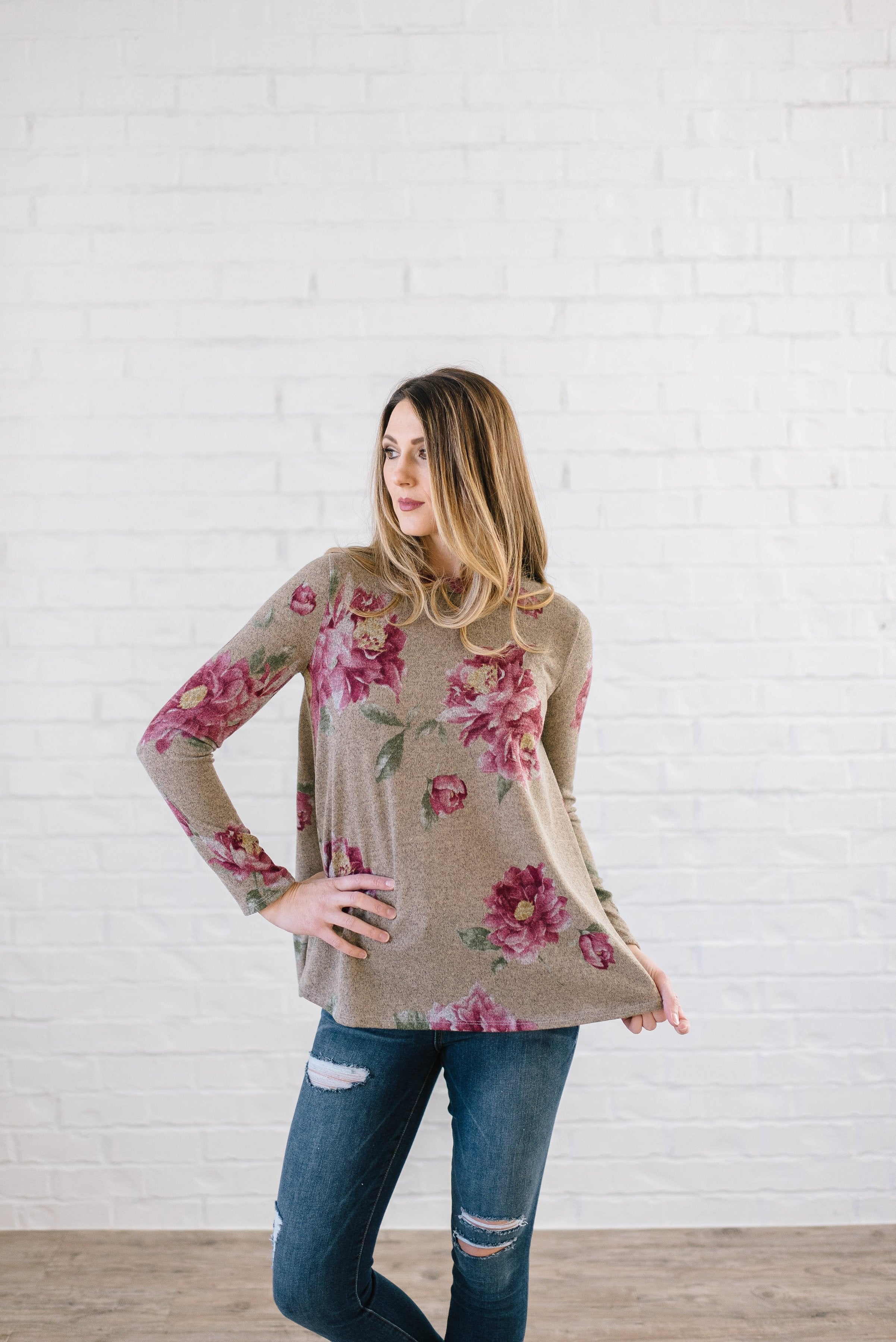 The Peony Knit Top in Olive