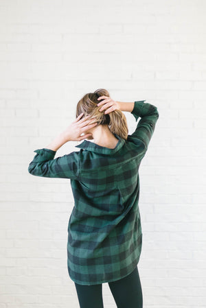 The Tristan Flannel Tunic in Hunter Green & Black